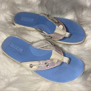 Sperry Women's Seafish White Patent/Glitter Sandal